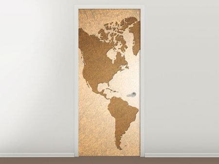 Door Mural Map Of The World In Vintage