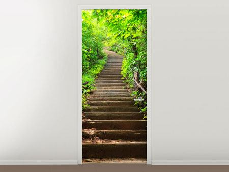 Door Mural Wood Stairs