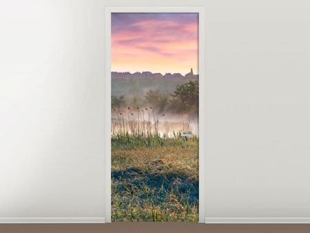 Door Mural Sunset On hill
