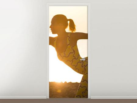 Door Mural Yoga At Sunset