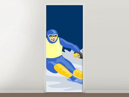 Door Mural Skier In Retro Style