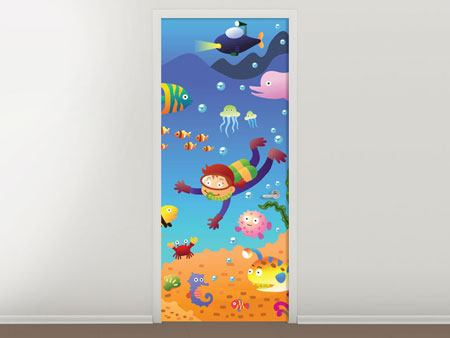 Door Mural Photowallpaper Funny Fish