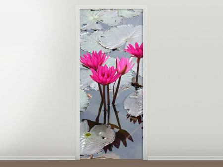 Door Mural Jump In The Lily Pond
