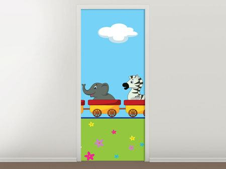 Door Mural Animal Train