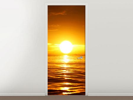 Door Mural Glowing Sunset On The Water