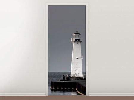 Door Mural The Lighthouse At Night