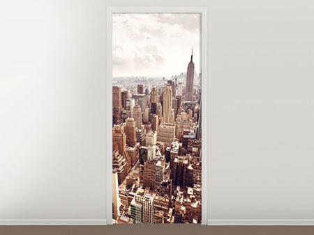 Door Mural Skyline Over The Roofs Of Manhattan
