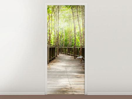 Door Mural Wooden Bridge