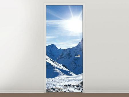 Door Mural The Mountain In Snow