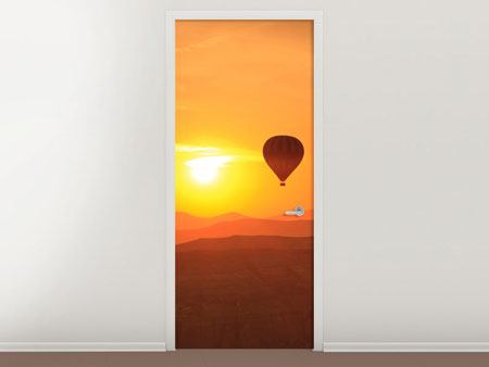 Door Mural Hot Air Balloon At Sunset