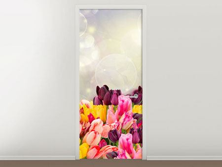 Door Mural Colorful Tulip Bed In The Play Of Light