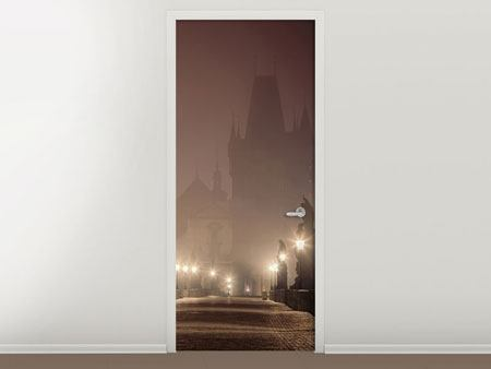 Door Mural Charles Bridge At Night