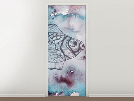 Door Mural Fish Watercolor