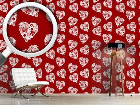 Design Wallpaper Floral Bouquet With Heart
