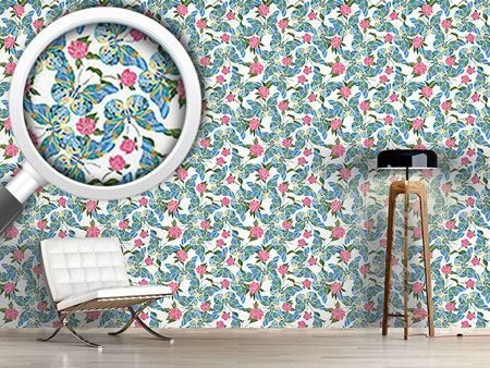 Design Wallpaper Butterflies Drawn To Peonies