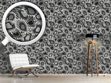Design Wallpaper Floral Supernovas Monochrome