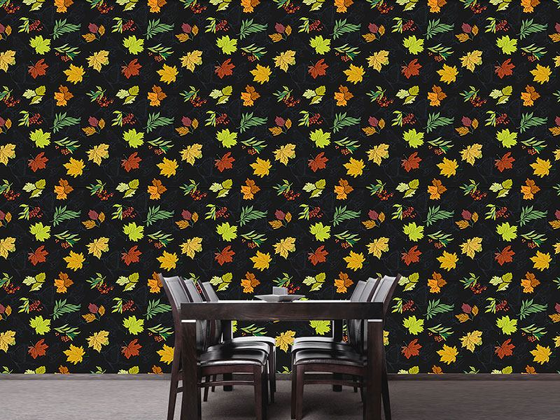 Papel tapiz de diseño Midnight Leaves