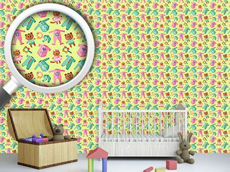 Design Wallpaper Baby Clothes And Toys