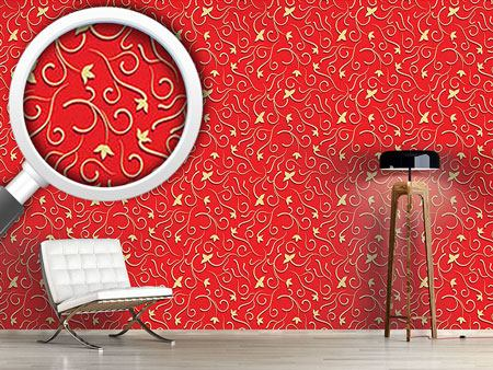 Design Wallpaper Ivy in bold red