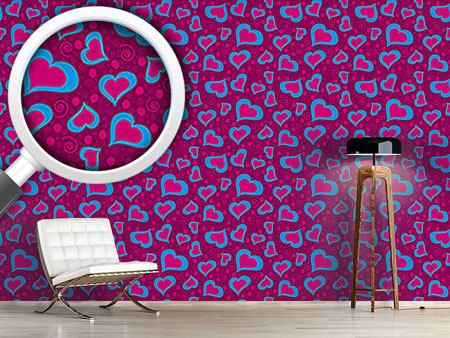 Design Wallpaper Crazy Hearts