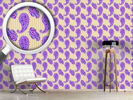 Design Wallpaper Paisleys On Stripes