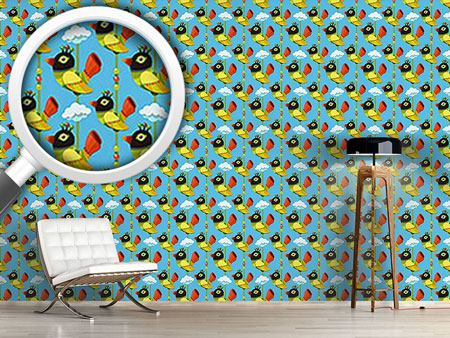 Design Wallpaper Funny Cartoon Birds