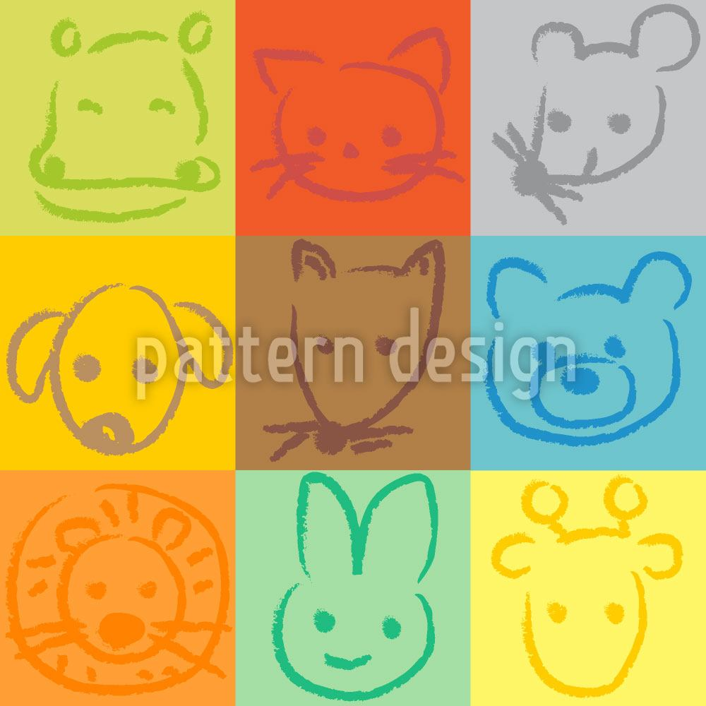 Papel tapiz de diseño Animals In Squares