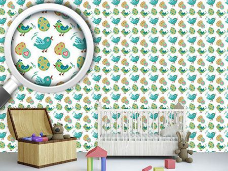 Papel tapiz de diseño Sweet Easter eggs and birds