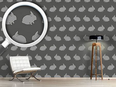 Design Wallpaper Grey Rabbits
