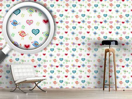 Papier peint design Birds and Hearts