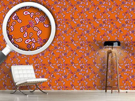 Papel tapiz de diseño Orange Paisley