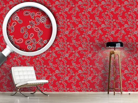 Papel tapiz de diseño Paisley In Red