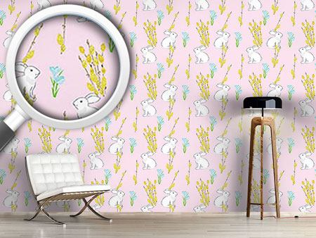 Design Wallpaper Easter Bunny And Flowering Willow