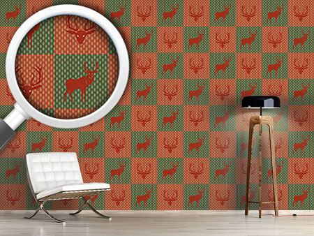 Papier peint design The Forest King Red Green