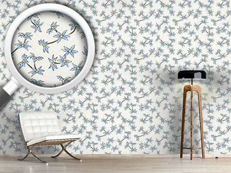 Design Wallpaper Blue Rain Flowers