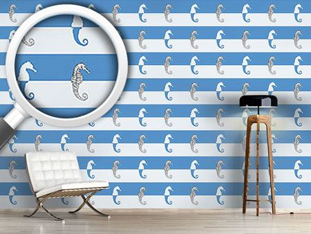 Design Wallpaper Seahorses On Blue Stripes