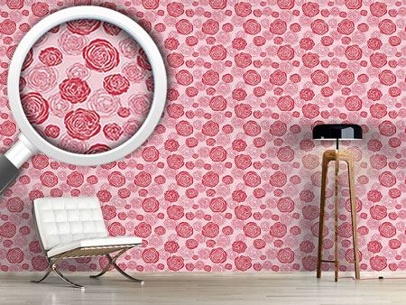 Design Wallpaper Rose Blooms Red-Pink
