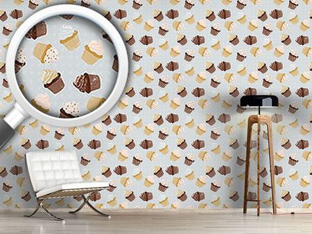 Design Wallpaper Cupcakes Grey