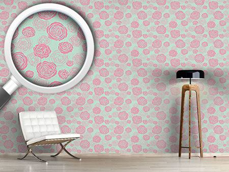 Papel tapiz de diseño Rose Blooms Red-Mint