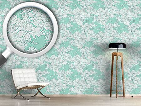 Design Wallpaper Vintage Flowers Mint