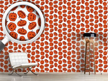 Design Wallpaper Pumpkin Heads White