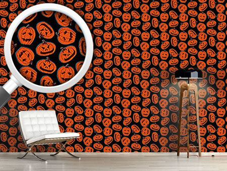 Design Wallpaper Pumpkin Heads Black