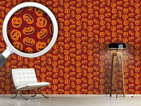Papel tapiz de diseño Pumpkin Heads Brown