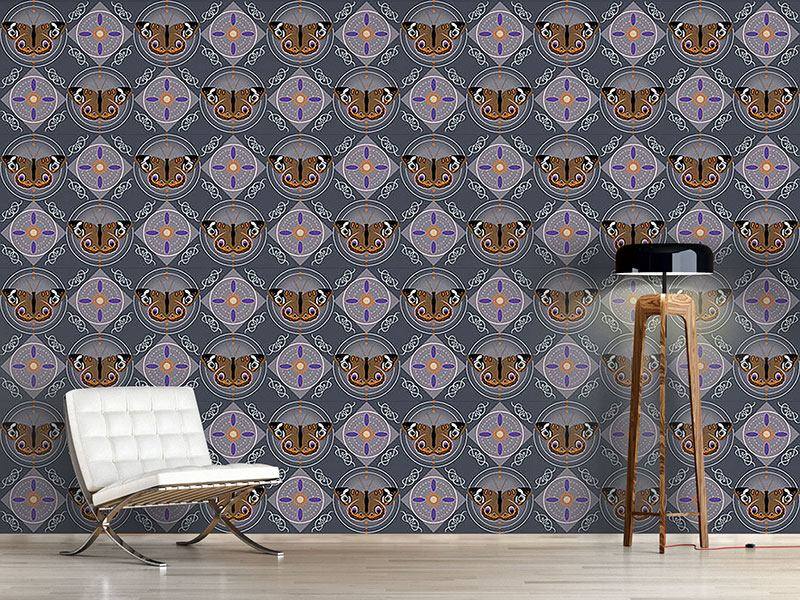 Design Wallpaper Peacock Butterfly Grey