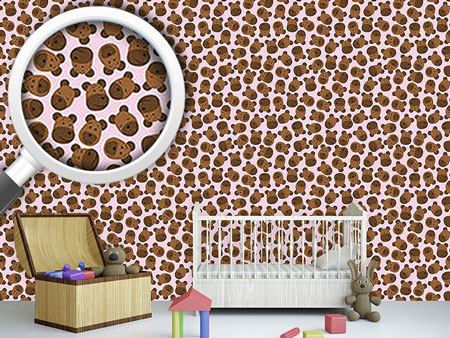 Design Wallpaper Mister Bear Pink