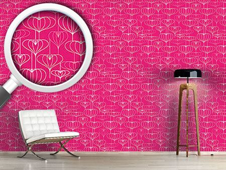 Design Wallpaper Heart Lantern Pink