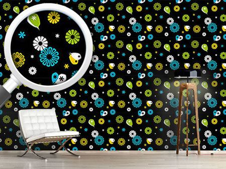 Design Wallpaper Flowerpower Black