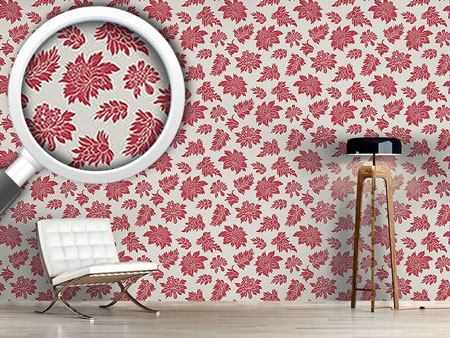 Design Wallpaper Baroque Bloom Red