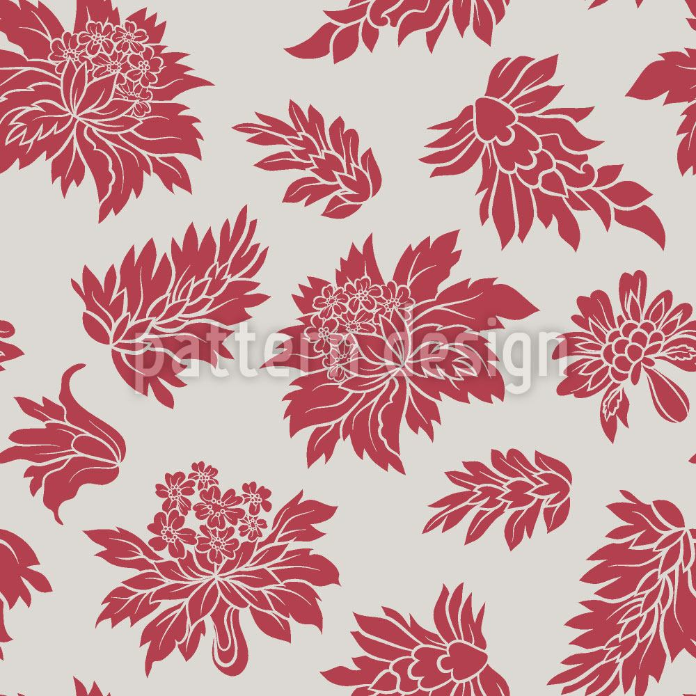 Papel tapiz de diseño Baroque Bloom Red