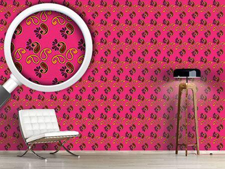Design Wallpaper Fancy Paisley Fuchsia
